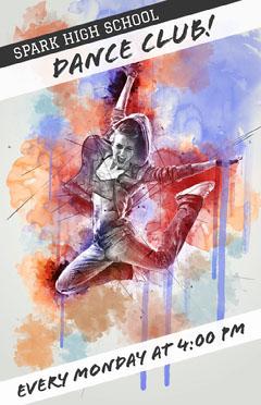 Illustrated High School Dance Club Flyer with Dancer Dance Flyer
