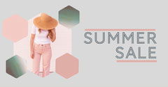 Grey & Pink Hexagon Shapes Fashion Summer Sale Summer