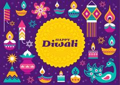 Purple Bright Colorful Illustrated Happy Diwali Greeting Card Festival