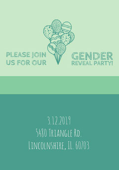 Green Gender Reveal Party Invitation Card with Balloons Gender Reveal Flyer