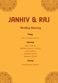 Janhiv & Raj  Wedding Program