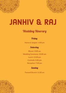 Yellow Wedding Ceremony Program Wedding Program
