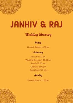 Yellow Wedding Ceremony Program Farewell