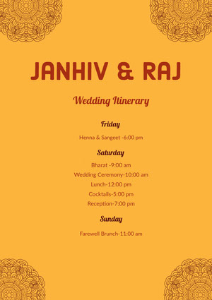 Yellow Wedding Ceremony Program Itinerario