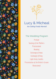 Grey Floral Pattern Wedding Card Couple