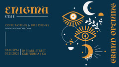 Navy Blue and Orange Illustration Enigma Café Opening Facebook Page Cover Coffee