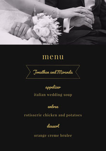Yellow White and Black Wedding Menu Menú de bodas