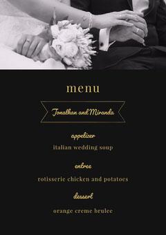 menu Weddings
