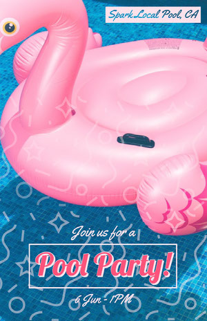 Pink Flamingo Pool Party Flyer Partyflyer