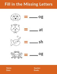 Orange Illustrated English Missing Letter School Worksheet Cat