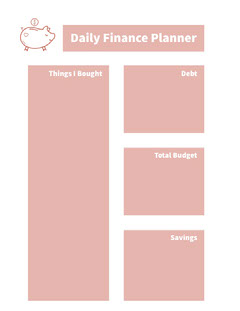 White and Pink Empty Daily Planner Card Finance
