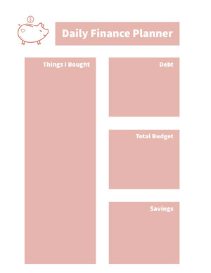White and Pink Empty Daily Planner Card Agenda giornaliera