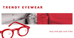 Red and White Eyeglasses Shop Facebook Post Ad Bogo