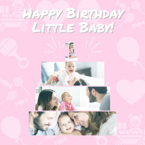 Pink and White Little Baby Instagram Graphic Photo Book Maker