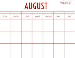 Red August Calendar Red