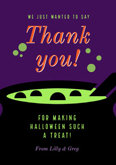Witches Crew Halloween Party thank you card Halloween Party Thank you Card