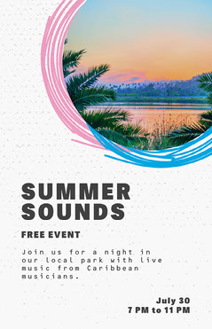 Pink and Blue Summer Music Festival Poster with Lake at Sunset Photo Live Music Flyer