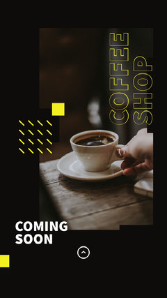 Black, White and Yellow, Coffee Shop Opening Ad, Instagram Story Opening Soon