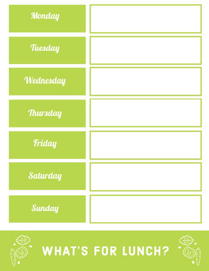 Green Weekly Meal Planner Menu de la semaine