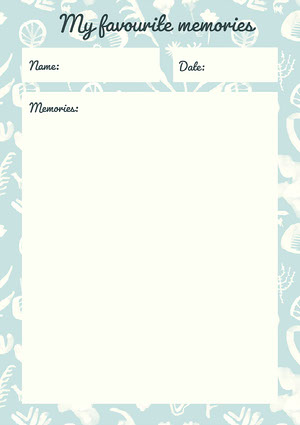 Light Blue Pattern English Class Writing Favorite Memories Worksheet Worksheet