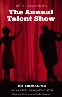 Red Curtain Talent Show Poster  School Posters