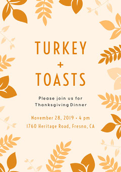 Yellow and White Thanksgiving Turkey and Toasts Invitation Leaf