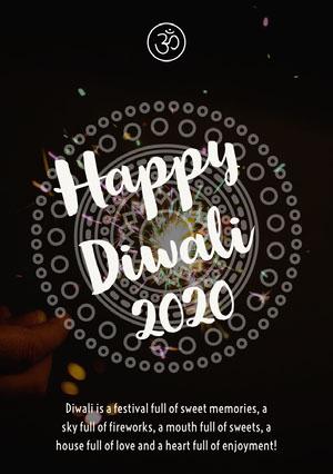 Black and White Happy Diwali Card Diwali