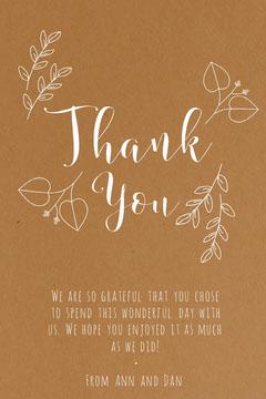 Brown Elegant Floral Calligraphy Thanksgiving Dinner Thank You Card Thanksgiving