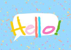 Colourful Hello! Card Landscape Hello