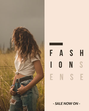 Fashion Store Sale Instagram Portrait with Woman in Field 50 caratteri moderni