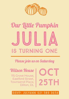 JULIA Birthday Invitation (Girl)