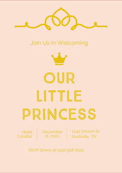 Gold and Pink Baby Shower Invitation Baby Shower (Girl)