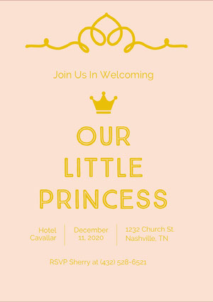 Our Little Princess Baby Shower Thank You Card