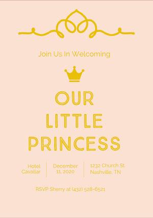 Gold and Pink Baby Shower Invitation Princess Invitation