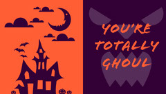 Purple and Orange Haunted House Halloween Party Gift Tag Halloween Gift Tag