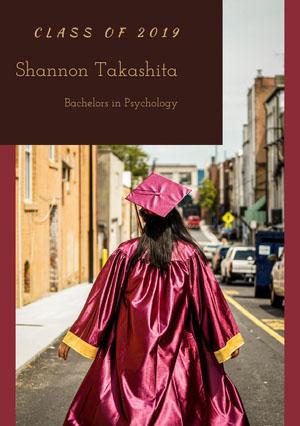 Shannon Takashita Karte zum Schulabschluss