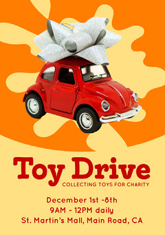 Orange and Red Toy Drive Flyer A5 Toy Drive Flyer