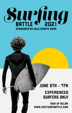 Blue & Yellow Surfing Competition Poster  Surfing