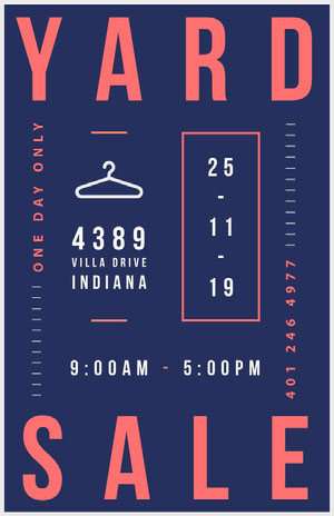 Navy, Red and White, Yard Sale Event Ad, Poster Yard Sale Sign