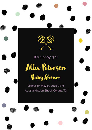 Black and Spotted Baby Shower Invitation Annonce de grossesse