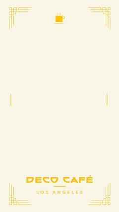 Orange and White, Art Deco Cafe, Snapchat Geofilter Coffee