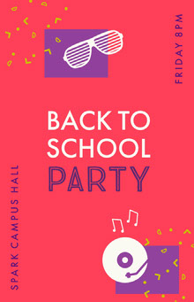 Pink and Violet Back To School Party Poster School Posters