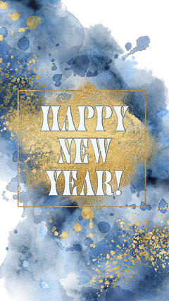 Blue Gold Watercolour Happy New Year Instagram Story  New Year