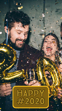 Happy New Year Snapchat Geofilter with People and Confetti New Year