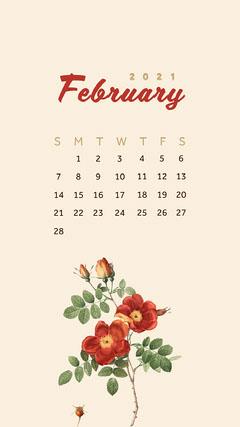 Red Flower February 2021 Calendar Phone Wallpaper Spring