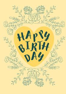 Yellow Floral Frame Happy Birthday Card Birthday Card