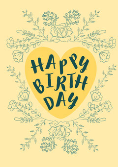 Yellow Floral Frame Happy Birthday Card Frame