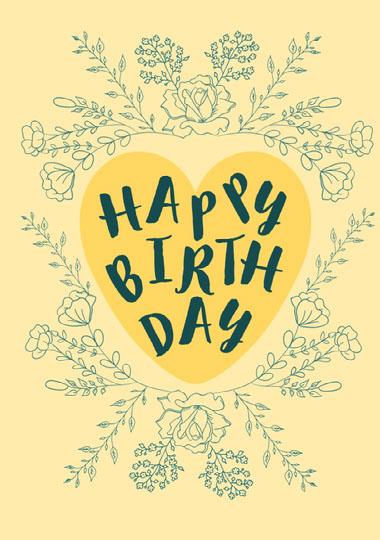 Happy Birthday floral frame card COVID-19-Geburtstagskarten
