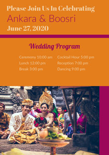Orange and Pink Wedding Ceremony Program Programa de bodas