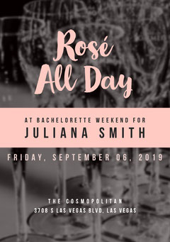 Pink and Black Bachelorette Party Invitation Party
